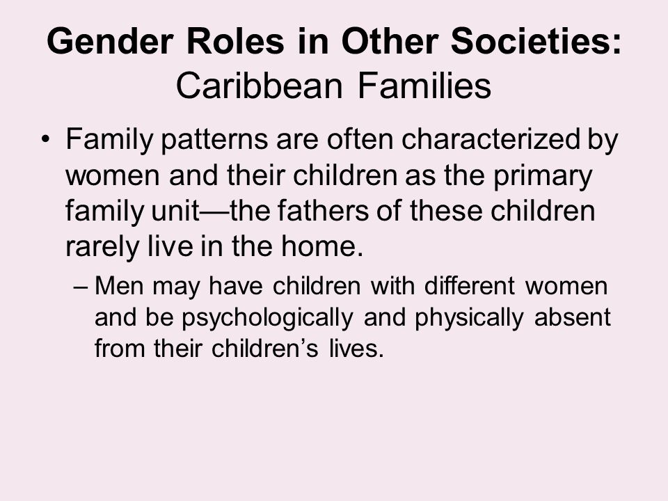 Gender Roles in Other Societies: Caribbean Families