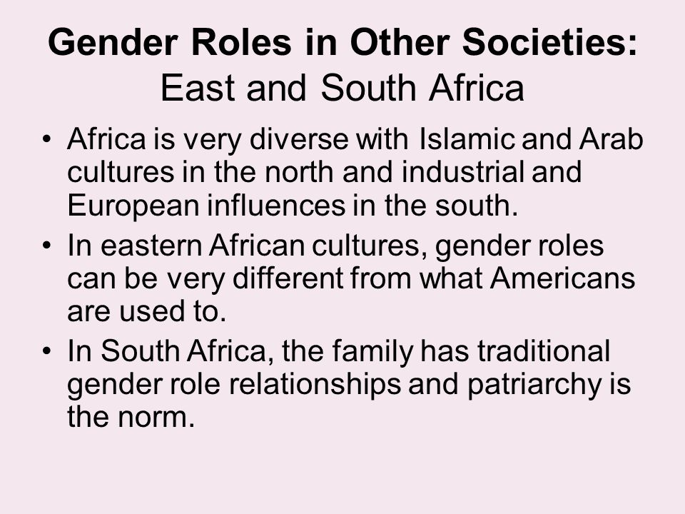 Gender Roles in Other Societies: East and South Africa