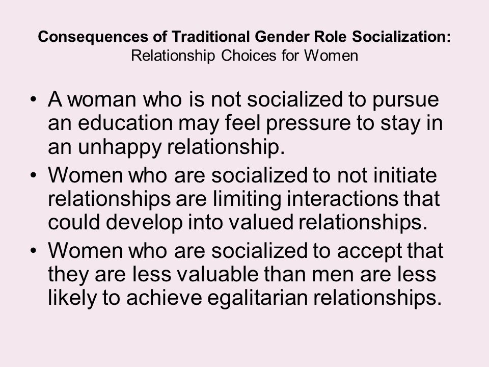 the question of gender role socialization Sources of gender role socialization: from the moment of birth on-- what is the first question asked by mom (is it a boy or a girl.