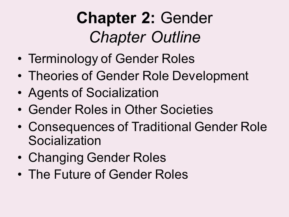 Chapter 2: Gender Chapter Outline