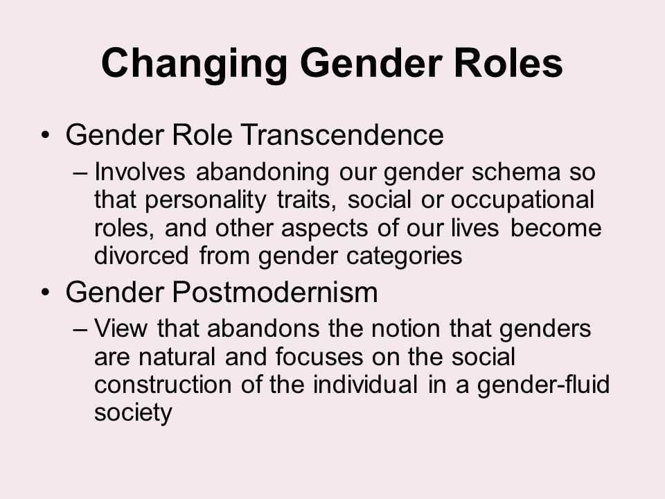Changing Gender Roles Gender Role Transcendence Gender Postmodernism