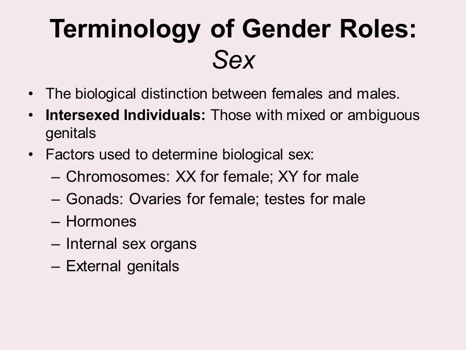 Terminology of Gender Roles: Sex