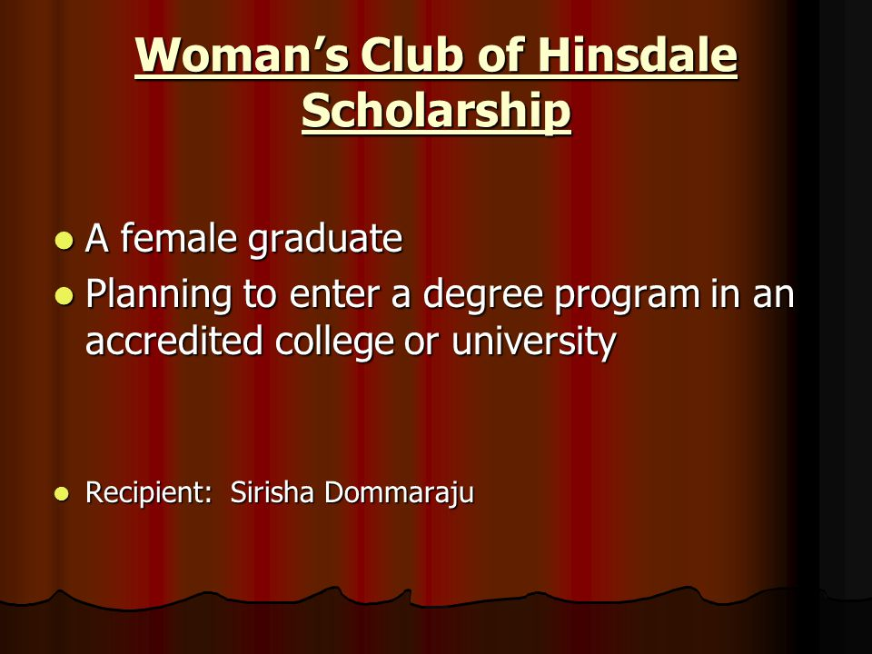 Woman's Club of Hinsdale Scholarship