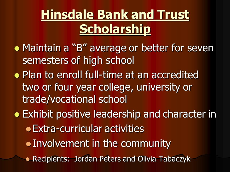 Hinsdale Bank and Trust Scholarship