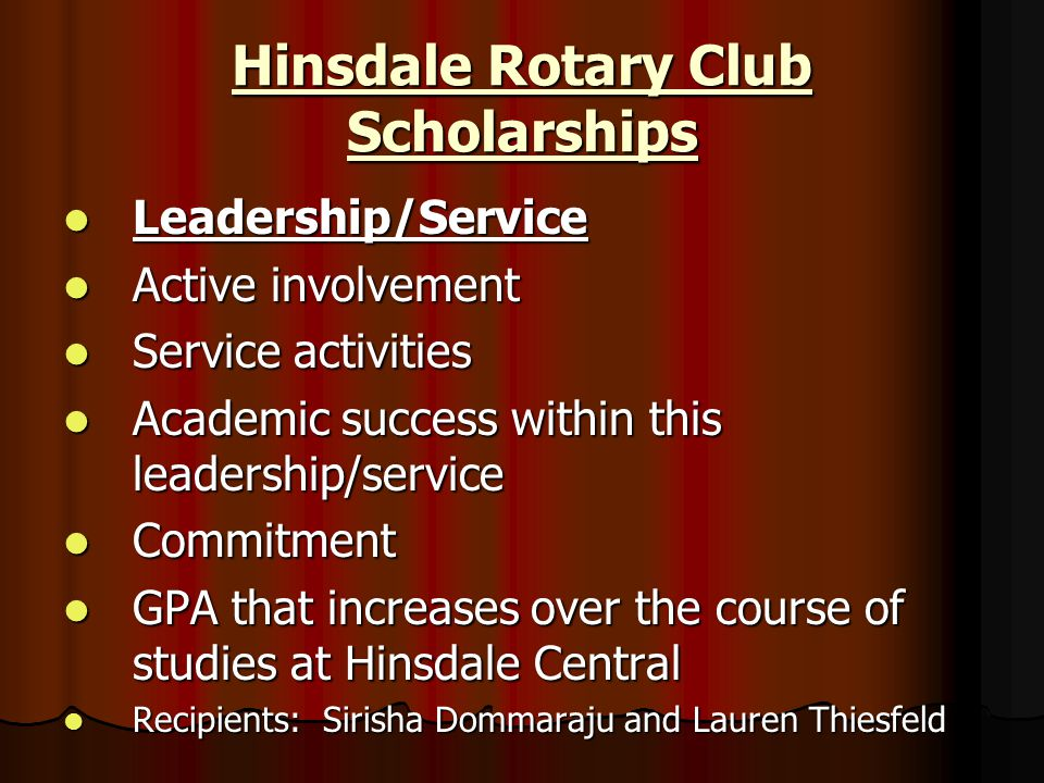 Hinsdale Rotary Club Scholarships