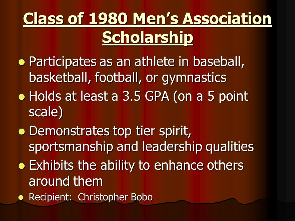 Class of 1980 Men's Association Scholarship