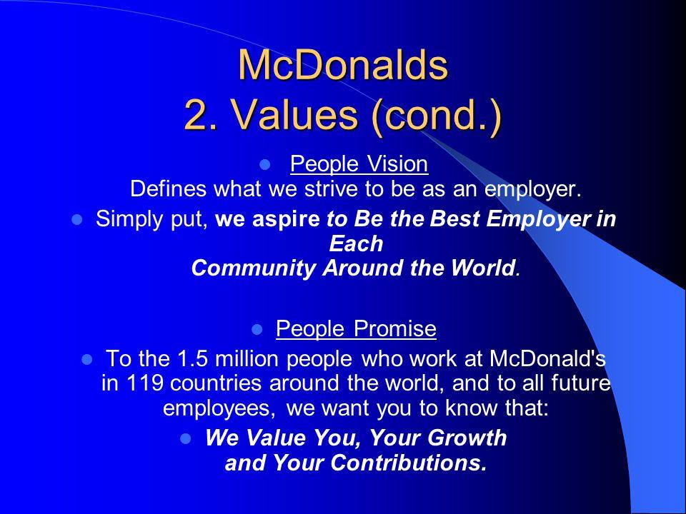 McDonalds 2. Values (cond.)