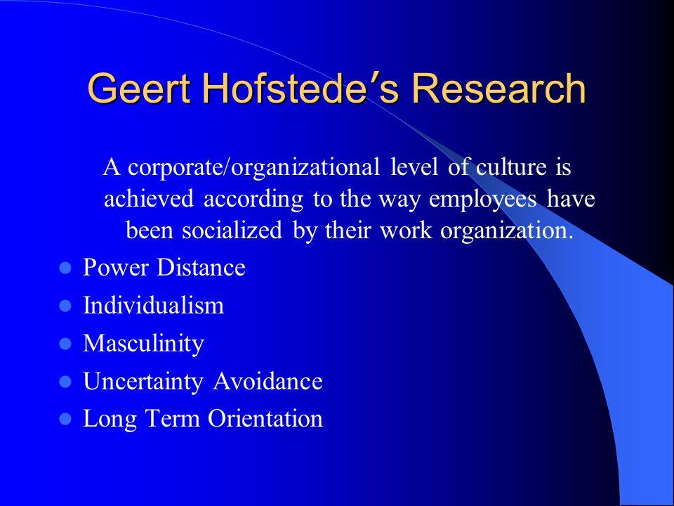 Geert Hofstede's Research