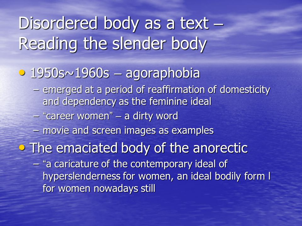 Disordered body as a text – Reading the slender body