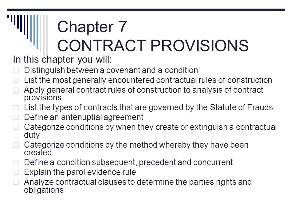Chapter 7 CONTRACT PROVISIONS