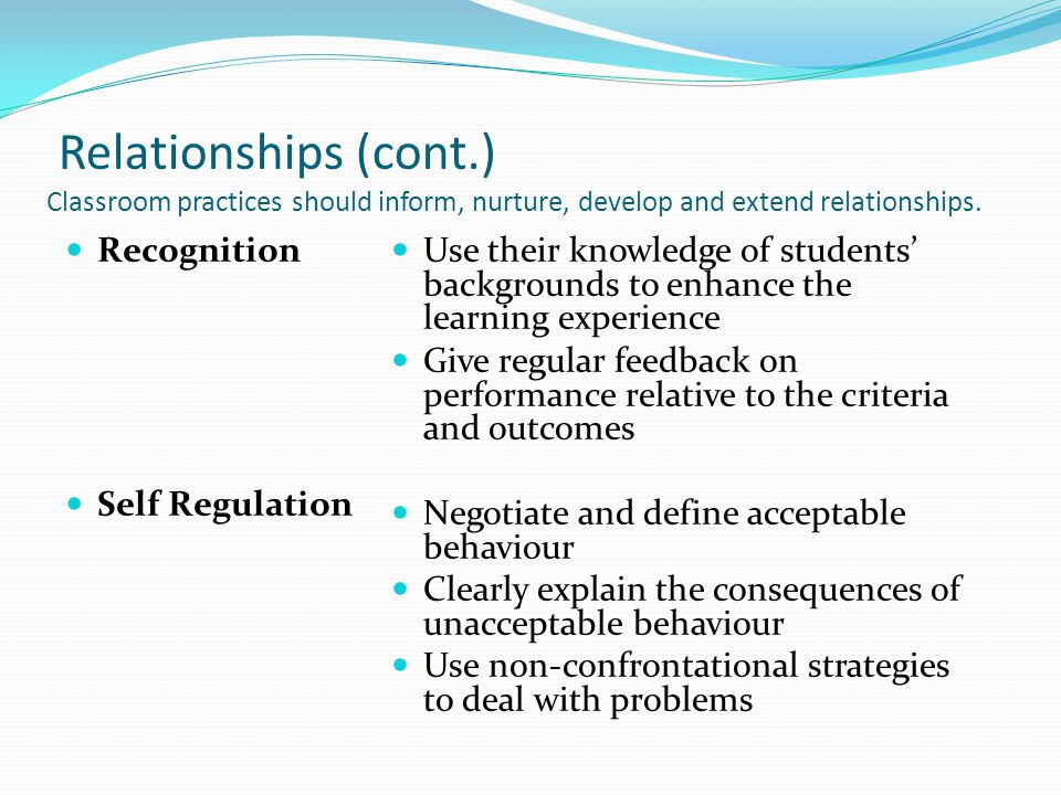 Relationships (cont.) Classroom practices should inform, nurture, develop and extend relationships.
