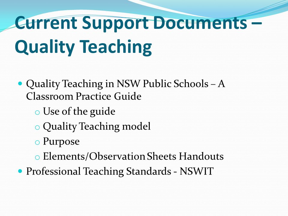 Current Support Documents – Quality Teaching
