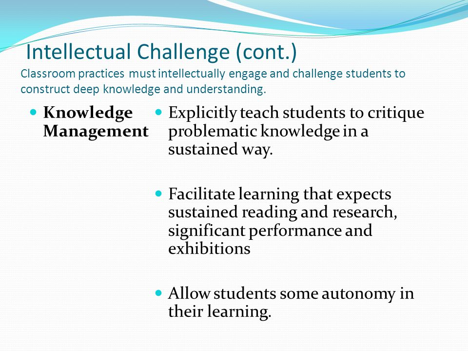 Intellectual Challenge (cont