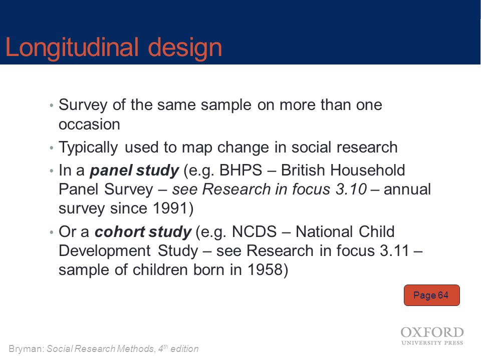 Longitudinal design Survey of the same sample on more than one occasion. Typically used to map change in social research.