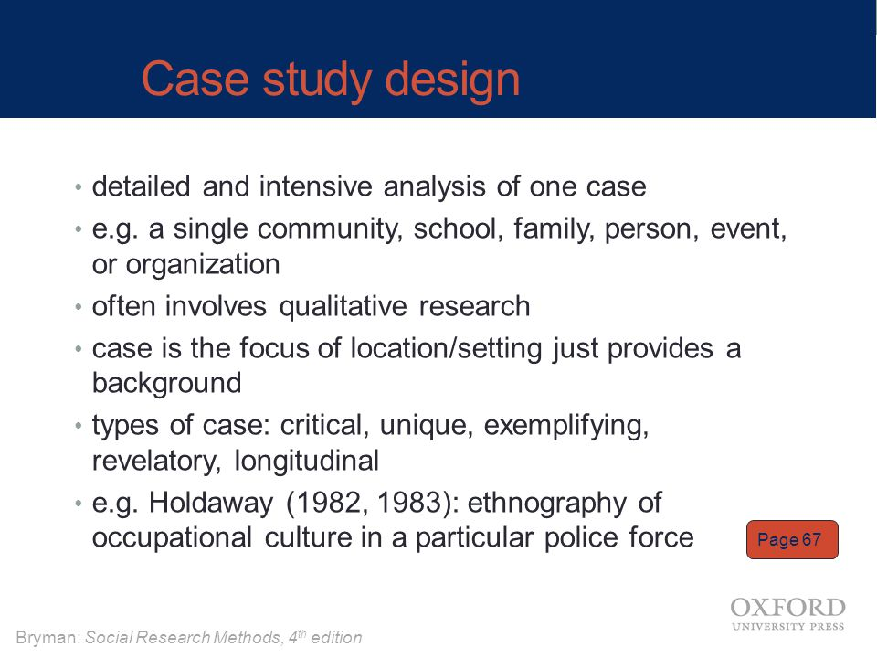 Case study design detailed and intensive analysis of one case