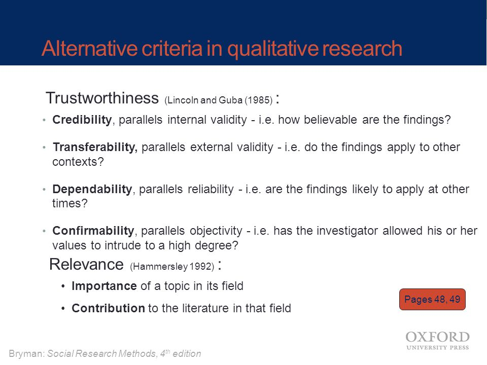 Alternative criteria in qualitative research