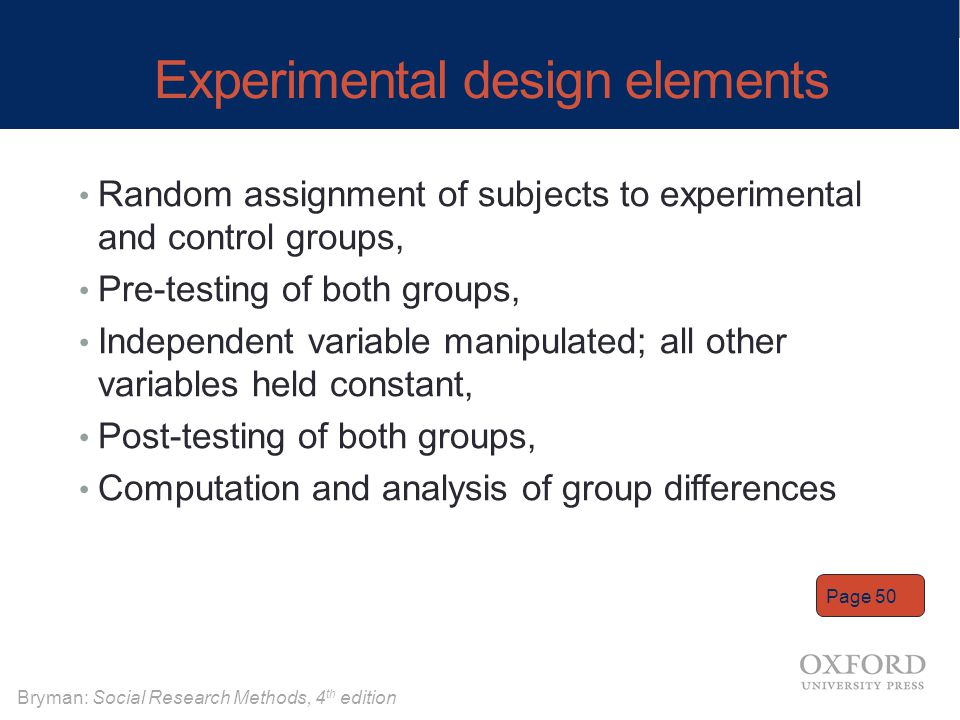 Experimental design elements