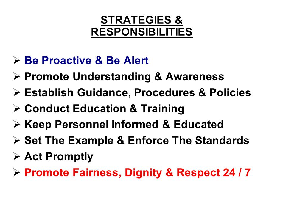 STRATEGIES & RESPONSIBILITIES