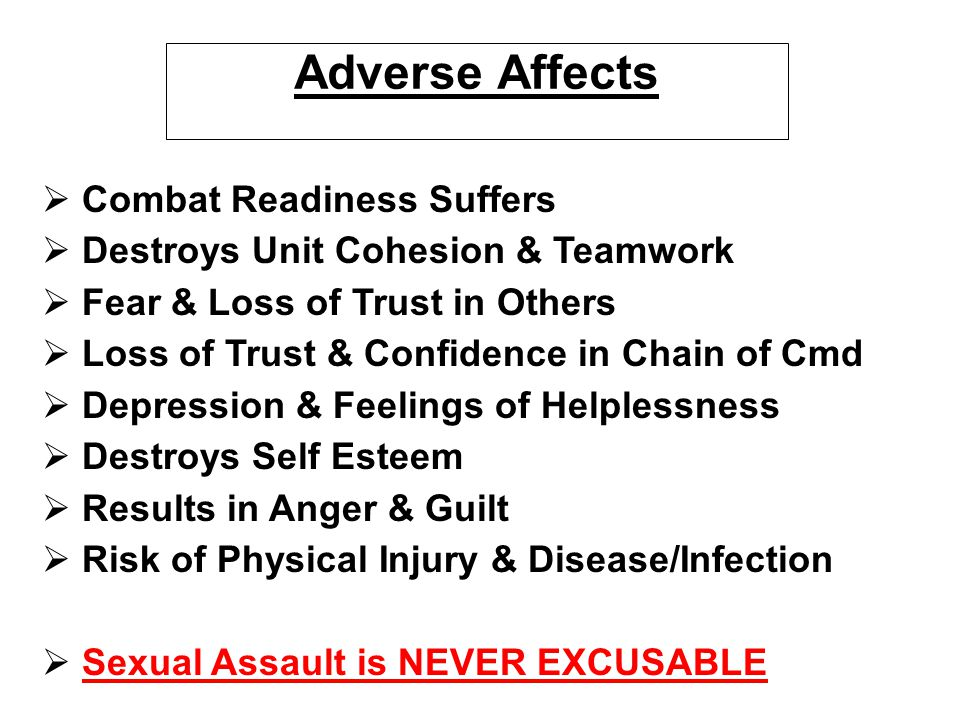 Adverse Affects Combat Readiness Suffers