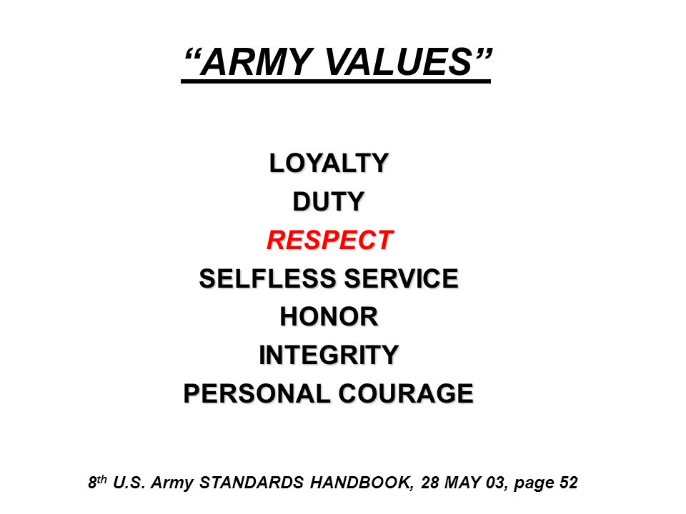 ARMY VALUES LOYALTY DUTY RESPECT SELFLESS SERVICE HONOR INTEGRITY