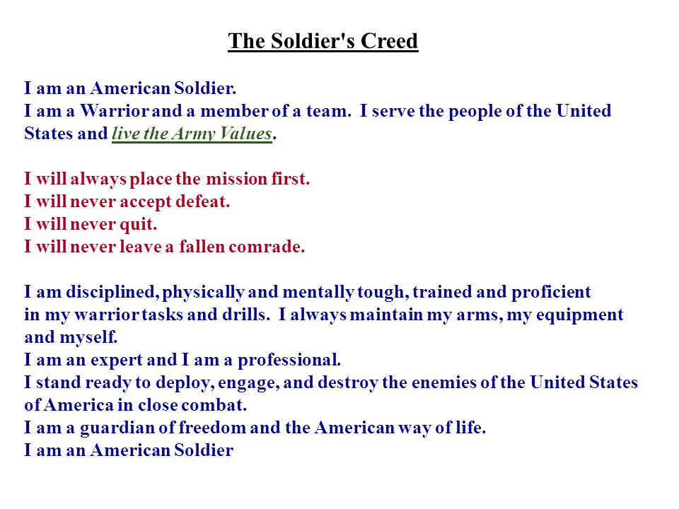 The Soldier s Creed I am an American Soldier