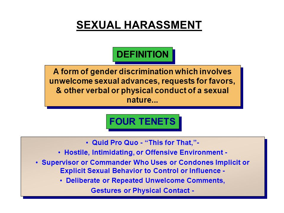 SEXUAL HARASSMENT DEFINITION FOUR TENETS