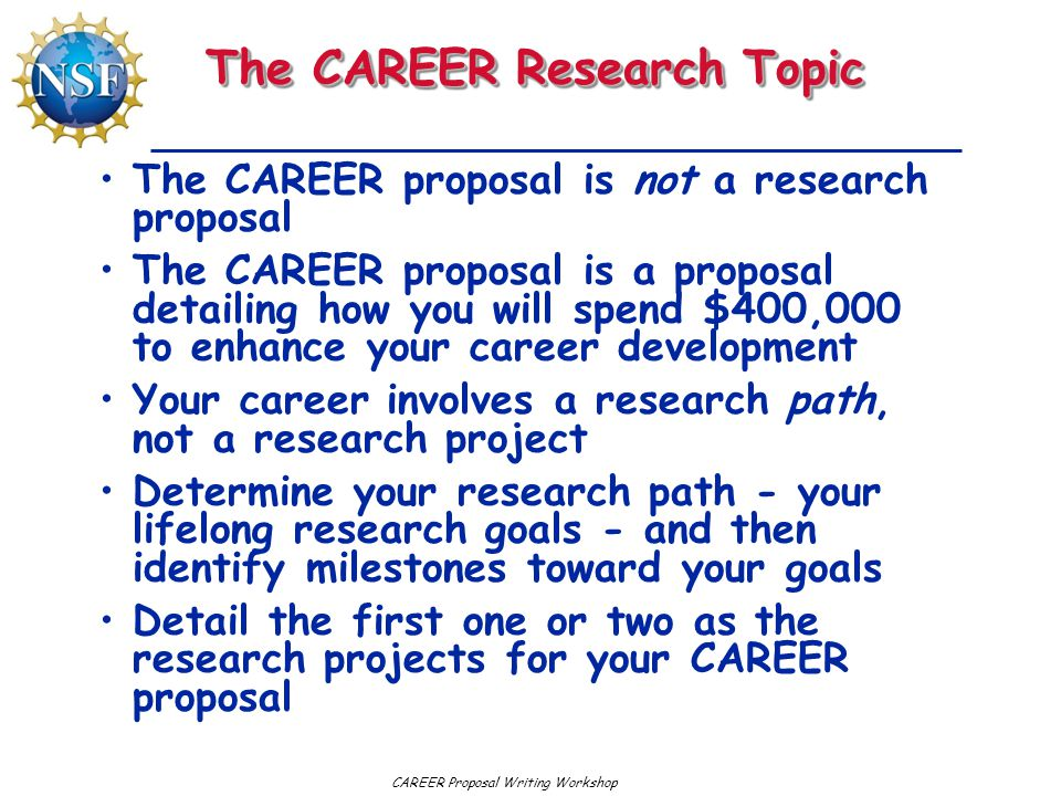 The CAREER Research Topic