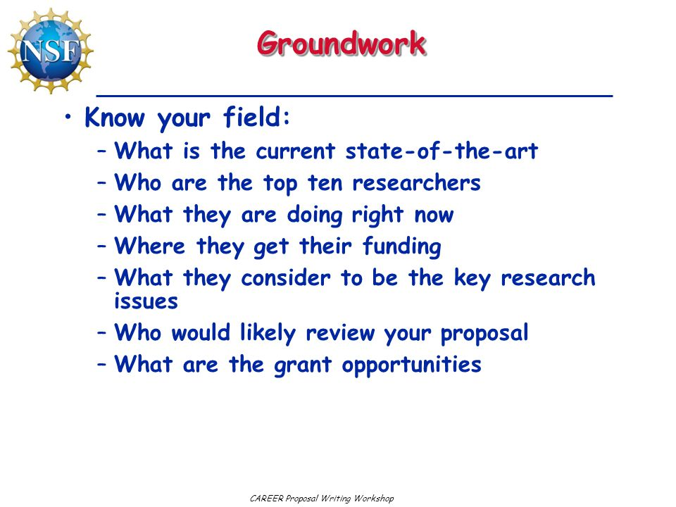 Groundwork Know your field: What is the current state-of-the-art