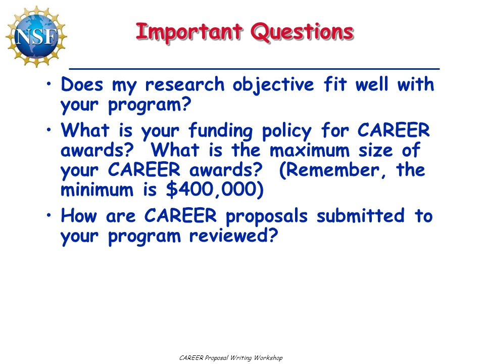 Important Questions Does my research objective fit well with your program