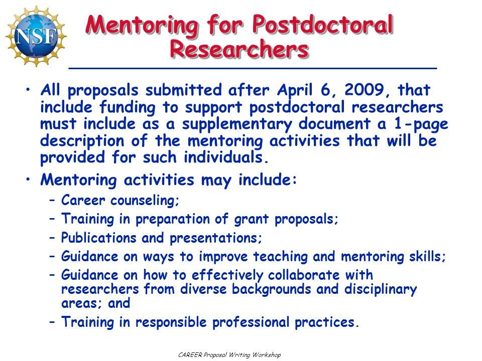 Mentoring for Postdoctoral Researchers