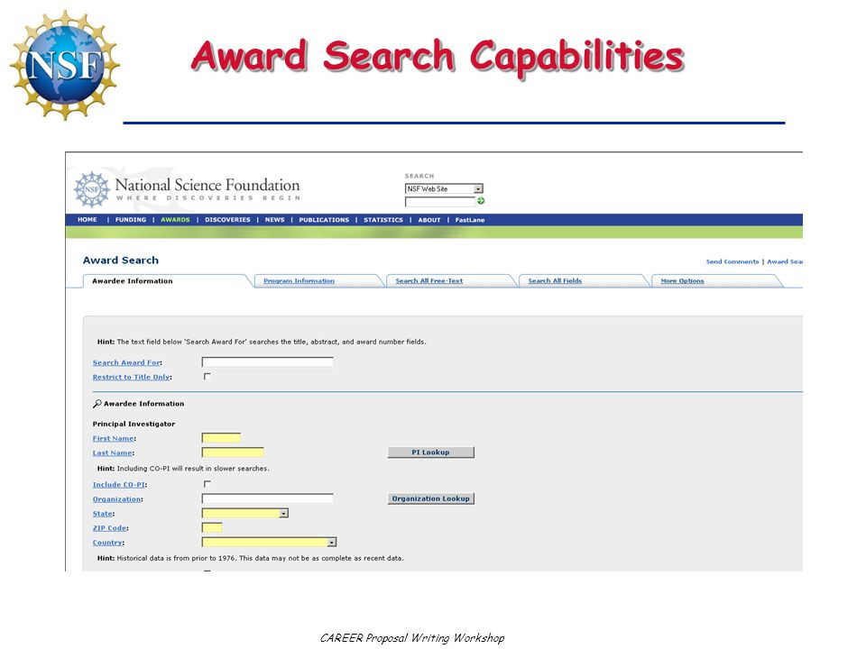 Award Search Capabilities
