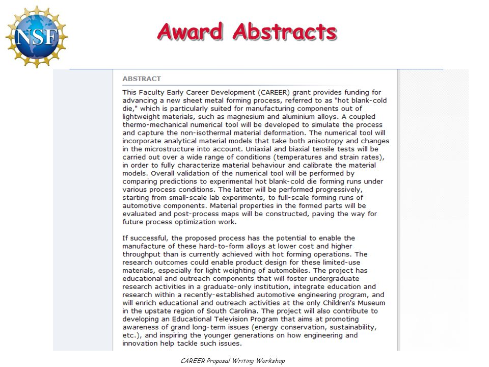 Award Abstracts