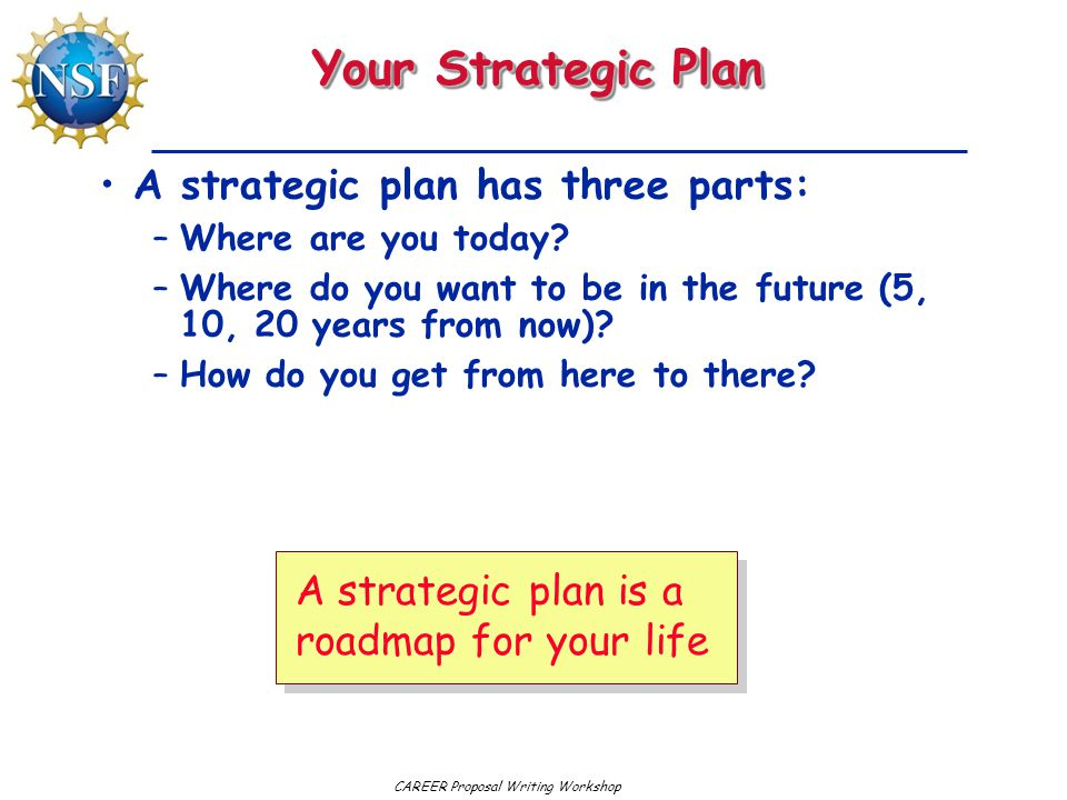 Your Strategic Plan A strategic plan has three parts: