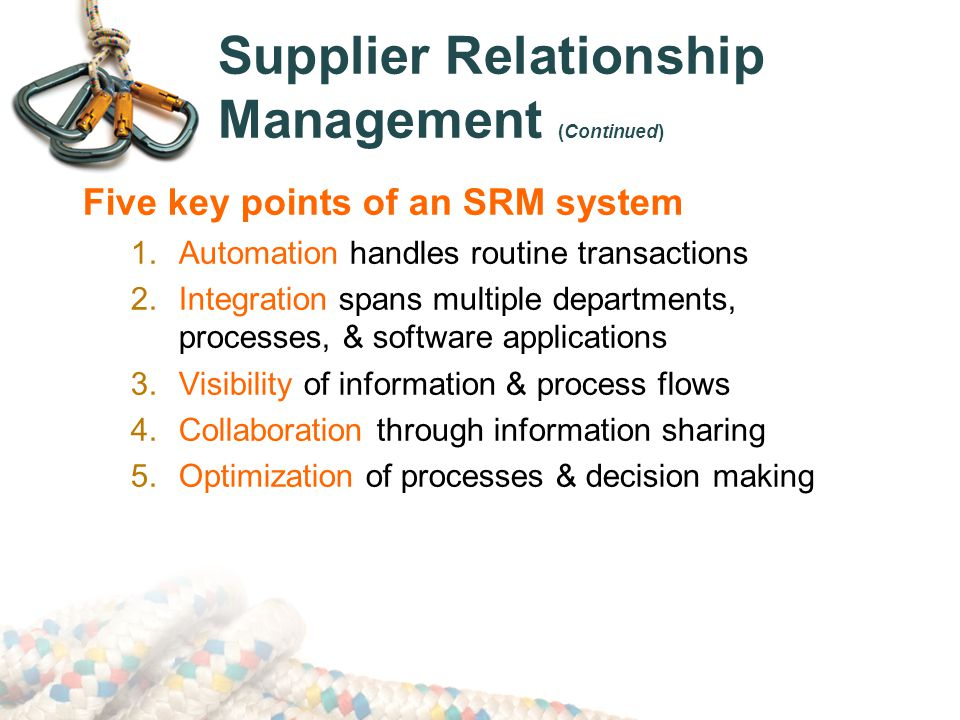 Supplier Relationship Management (Continued)
