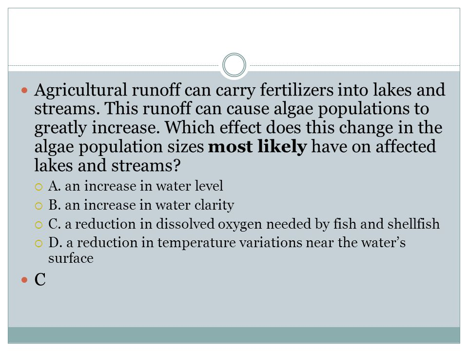 Agricultural runoff can carry fertilizers into lakes and streams