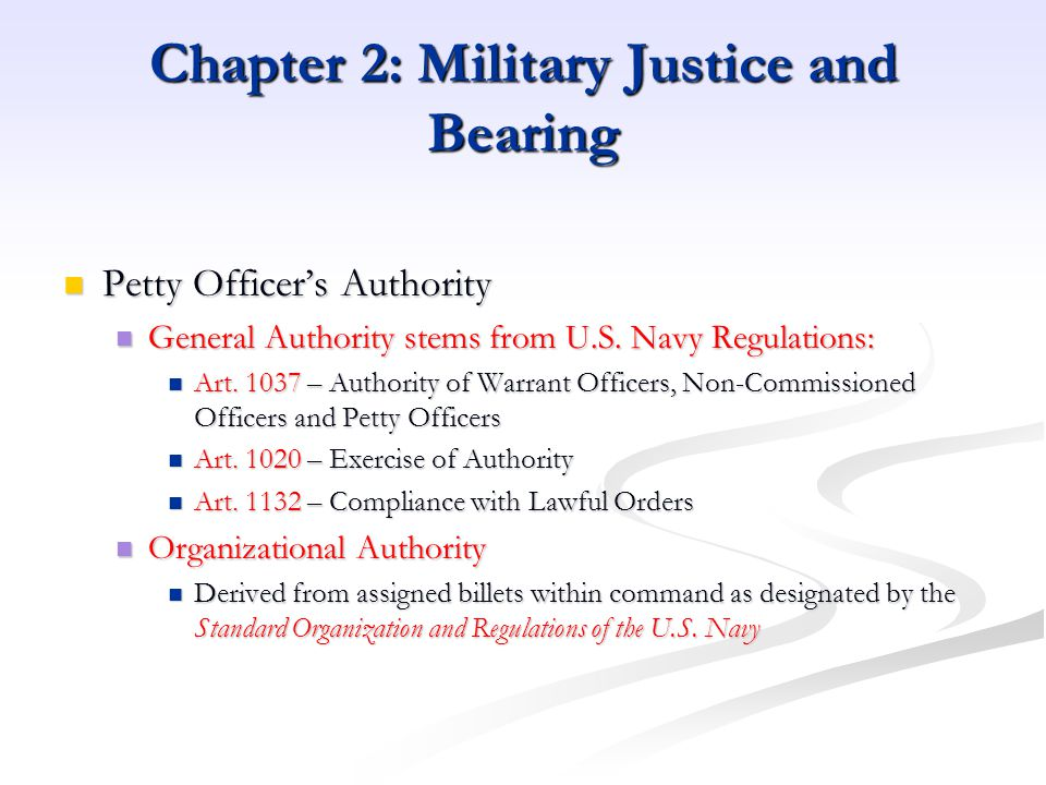 Chapter 2: Military Justice and Bearing