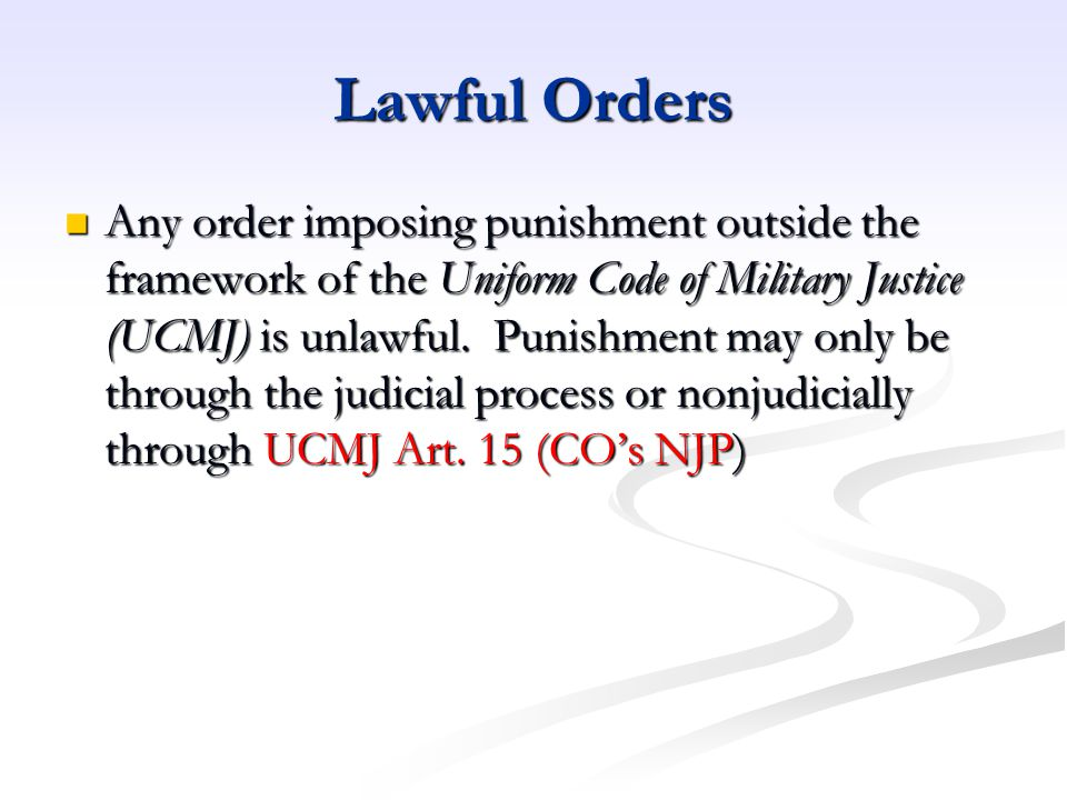 Lawful Orders