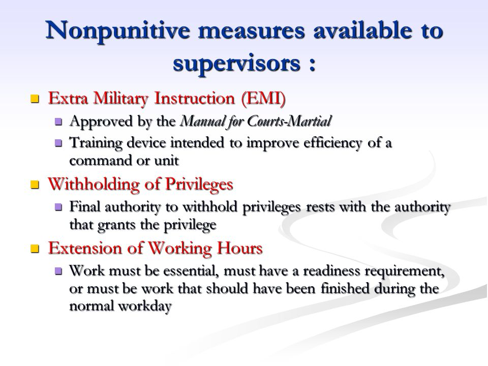 Nonpunitive measures available to supervisors :