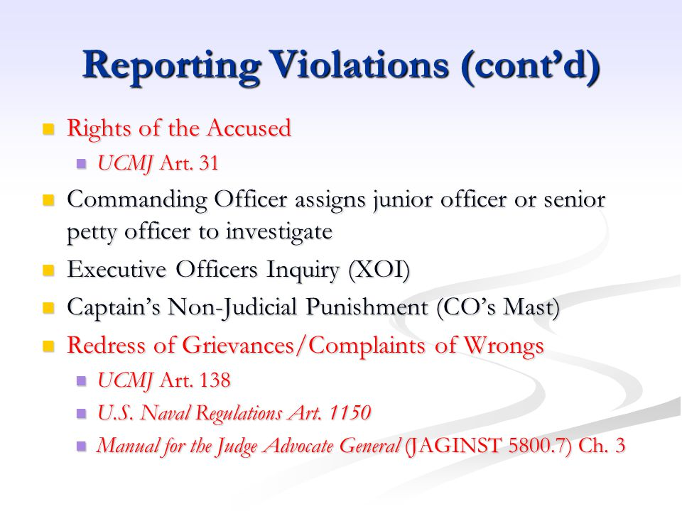 Reporting Violations (cont'd)