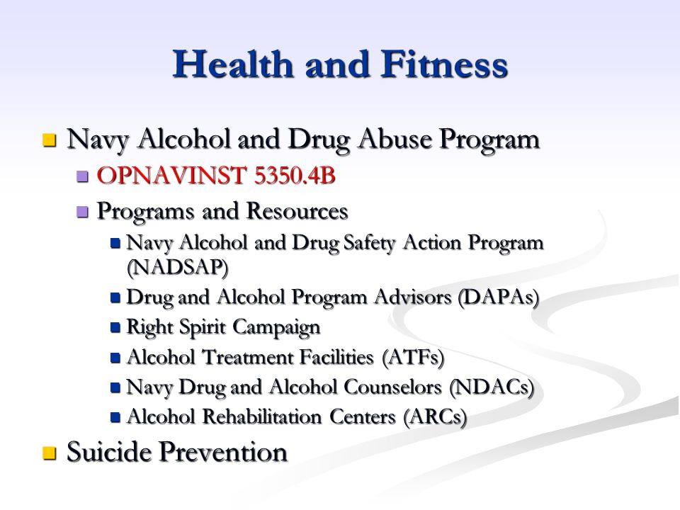 Health and Fitness Navy Alcohol and Drug Abuse Program