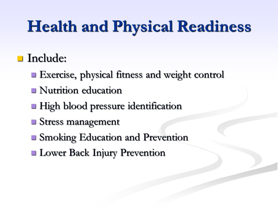 Health and Physical Readiness