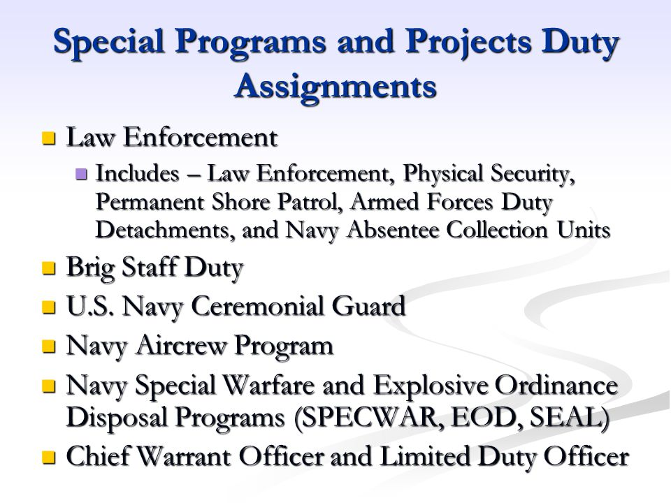 Special Programs and Projects Duty Assignments