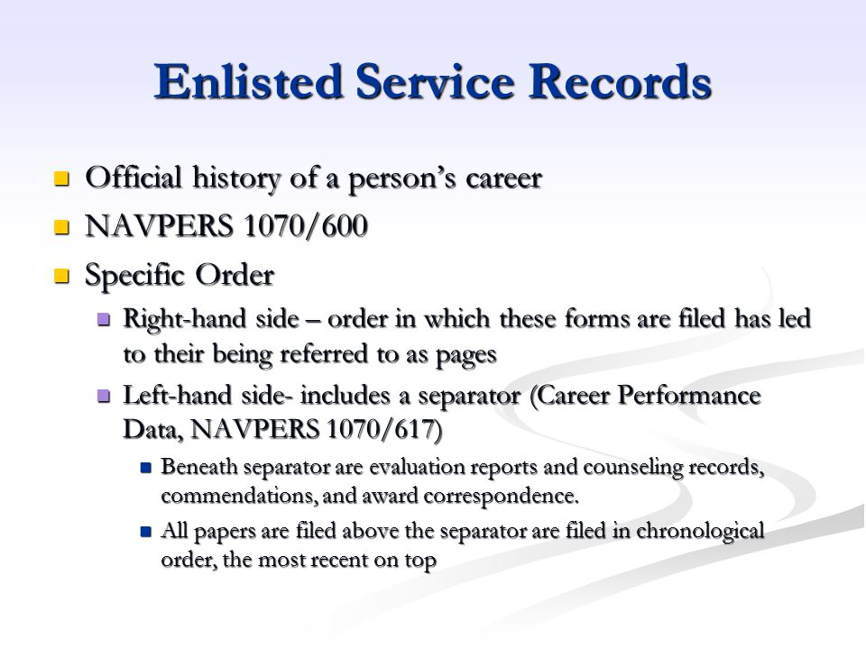 Enlisted Service Records
