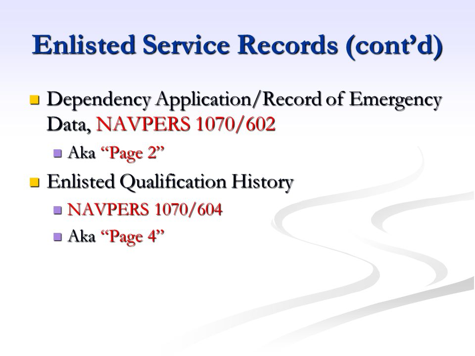 Enlisted Service Records (cont'd)