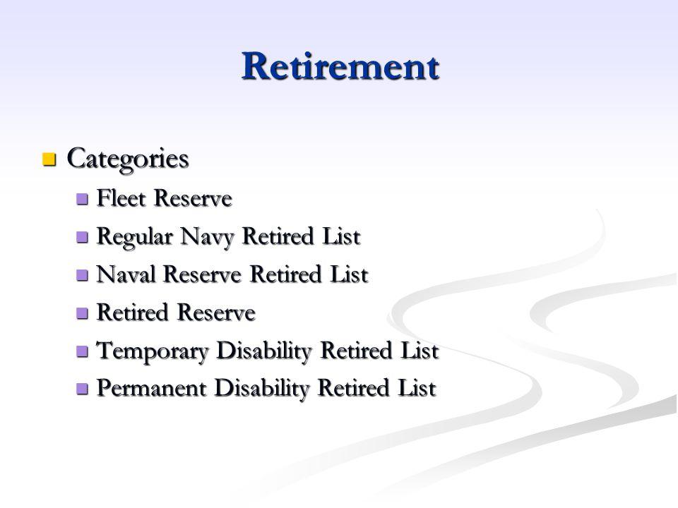 Retirement Categories Fleet Reserve Regular Navy Retired List