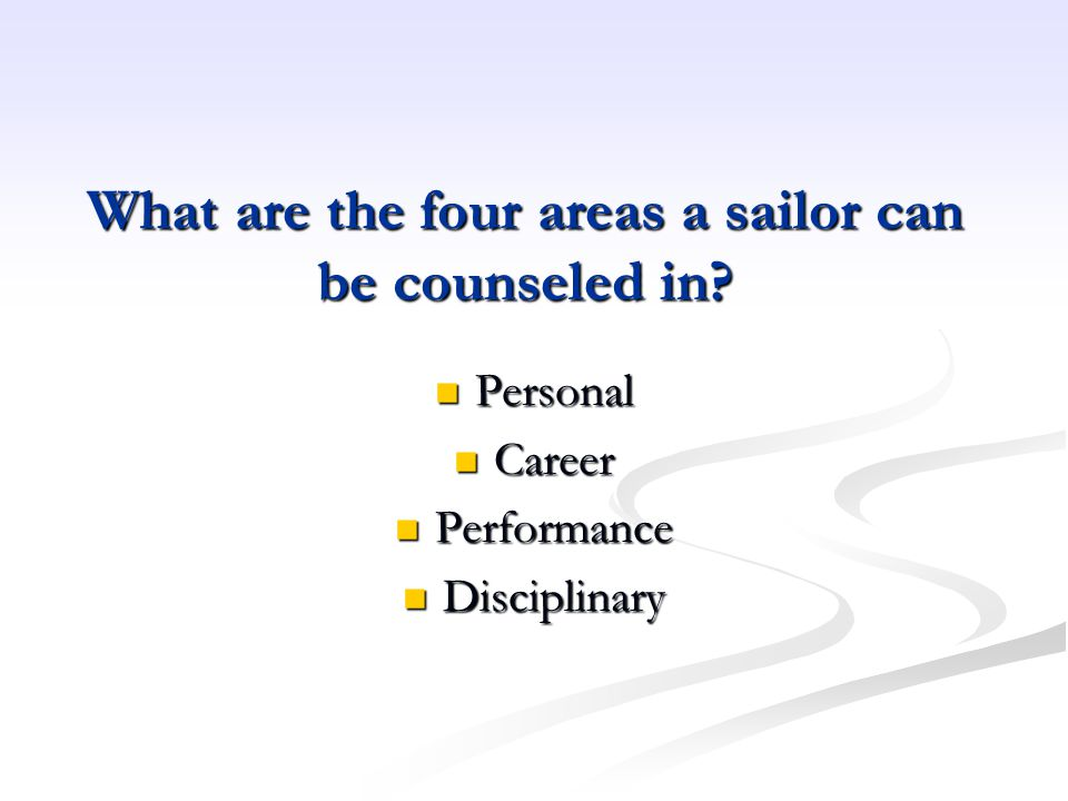 What are the four areas a sailor can be counseled in