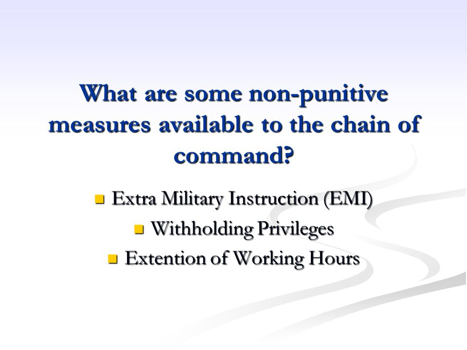 What are some non-punitive measures available to the chain of command