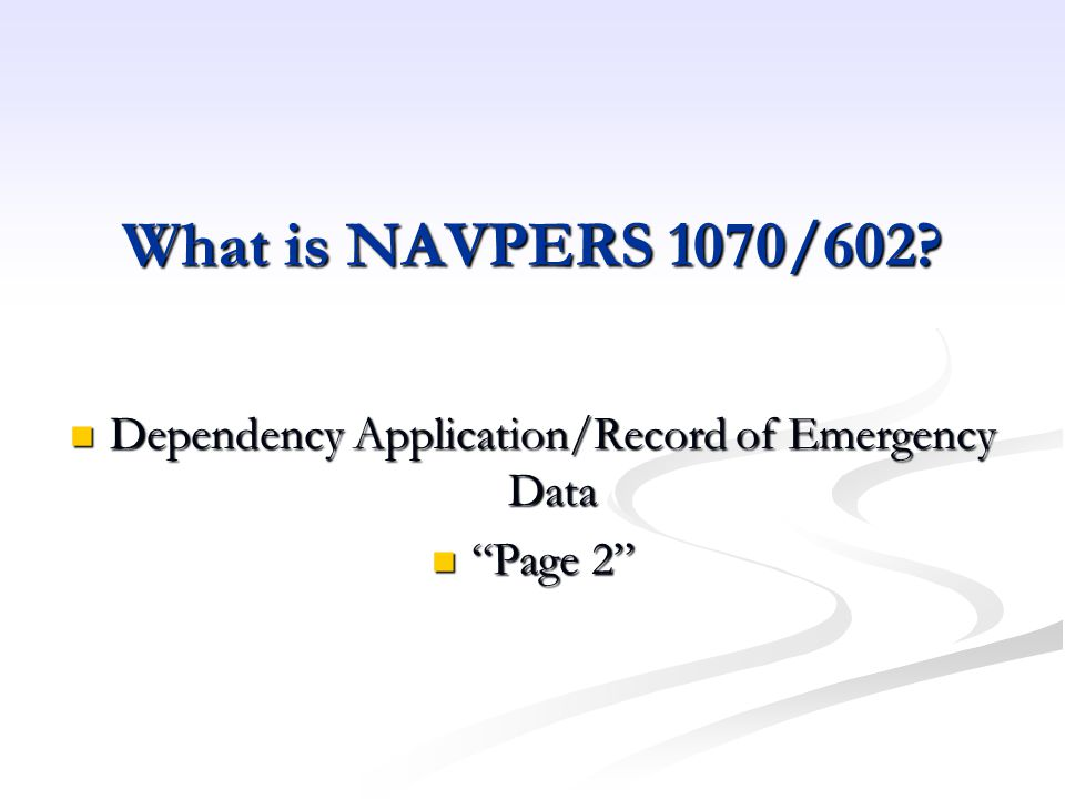 Dependency Application/Record of Emergency Data