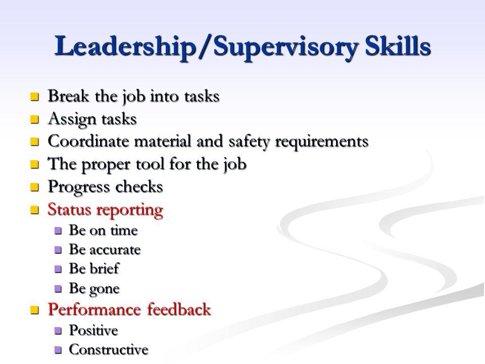 Leadership/Supervisory Skills