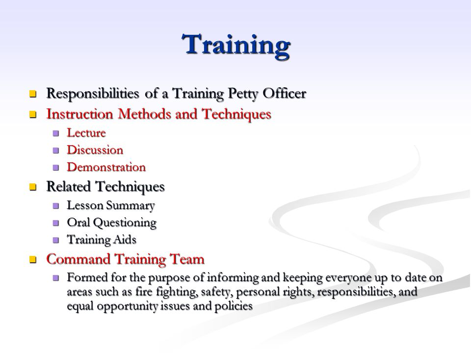 Training Responsibilities of a Training Petty Officer